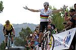 World Champion Alejandro Valverde (ESP) Movistar Team wins Stage 7 of La Vuelta 2019 running 183.2km from Onda to Mas de la Costa, Spain. 30th August 2019.<br /> Picture: Luis Angel Gomez/Photogomezsport | Cyclefile<br /> <br /> All photos usage must carry mandatory copyright credit (© Cyclefile | Luis Angel Gomez/Photogomezsport)