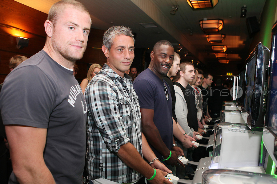 NO REPRO FEE. 14/9/2010. launch of Halo: Reach. Pictured at the Odeon Dublin for the launch of Halo: Reach are Irish rugby star Jamie Heaslip, Baz Ashmawy and Idris Elba, star of HBO's The Wire (Stringer Bell) .Halo: Reach tells the tragic and heroic story of Noble Team, a group of Spartans, who through great sacrifice and courage, saved countless lives in the face of impossible odds. Picture James Horan/Collins Photos
