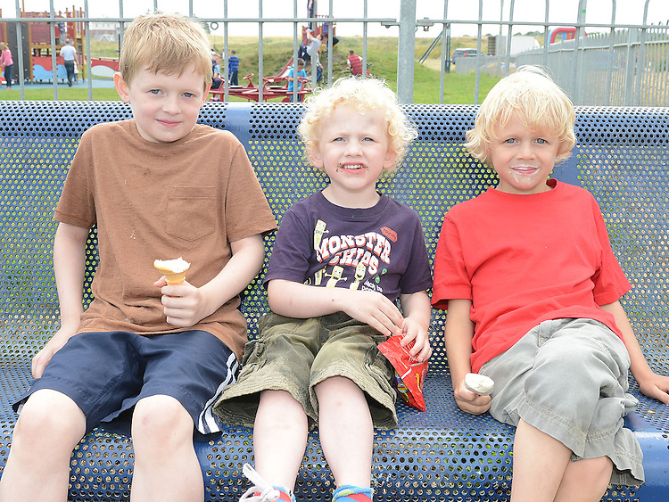Callum, Naoise and Tiernan McGrath pictured at the Laytown Summerfest. Photo:Colin Bell/pressphotos.ie