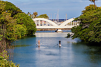 Two men standup paddleboarding down Anahulu Stream in Haleiwa, North Shore, O'ahu.