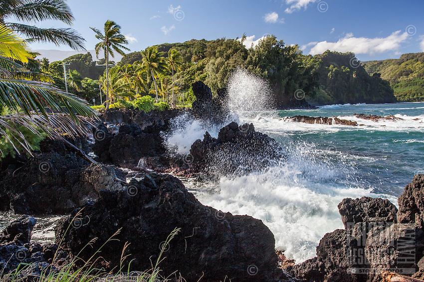 A view of Nua'ailua Bay from Keanae Lookout, on the way to Hana, Maui.