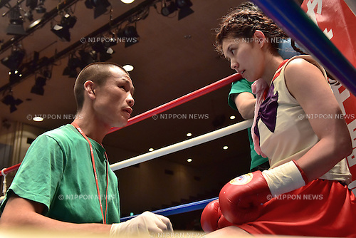 Riyako Goshi (JPN),<br /> SEPTEMBER 17, 2014 - Boxing :<br /> Riyako Goshi of Japan listens to her second in her corner before the second round of the 4R flyweight bout at Korakuen Hall in Tokyo, Japan. (Photo by Hiroaki Yamaguchi/AFLO)
