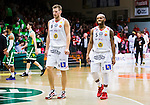 ****BETALBILD**** <br /> S&ouml;dert&auml;lje 2015-04-19 Basket SM-Final 1 S&ouml;dert&auml;lje Kings - Uppsala Basket :  <br /> Uppsalas  Johan Jeansson och Thomas Jackson deppar under matchen mellan S&ouml;dert&auml;lje Kings och Uppsala Basket <br /> (Foto: Kenta J&ouml;nsson) Nyckelord:  S&ouml;dert&auml;lje Kings SBBK T&auml;ljehallen Basketligan SM SM-Final Final Uppsala Basket depp besviken besvikelse sorg ledsen deppig nedst&auml;md uppgiven sad disappointment disappointed dejected
