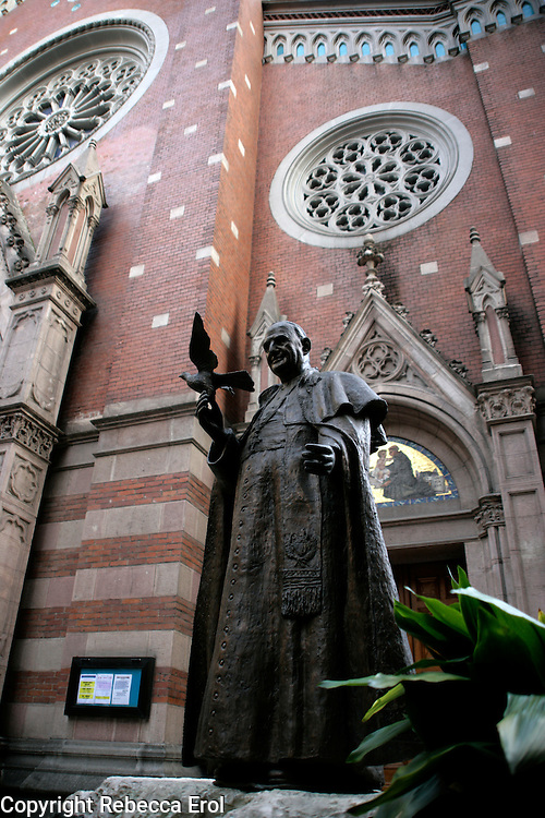 Statue commemorating the visit of Pope Benedict XVI to Istanbul in 2006 outside Saint Antoine Italian Catholic Church on Istiklal, Beyoglu, Istanbul