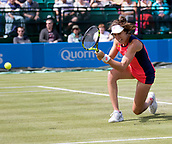 June 13th 2017, Nottingham, England; WTA Aegon Nottingham Open Tennis Tournament;  Low backhand from Johanna Konta of Great Britain on her way to victory over Tara Moore of Great Britain
