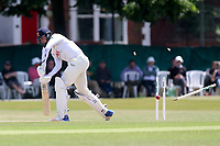 Matt Quinn of Essex is bowled out by Ravi Rampaul during Surrey CCC vs Essex CCC, Specsavers County Championship Division 1 Cricket at Guildford CC, The Sports Ground on 11th June 2017