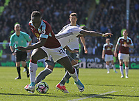 Burnley's Daniel Agyei battles with Manchester United's Ashley Young<br /> <br /> Photographer Stephen White/CameraSport<br /> <br /> The Premier League - Burnley v Manchester United - Sunday 23rd April 2017 - Turf Moor - Burnley<br /> <br /> World Copyright &copy; 2017 CameraSport. All rights reserved. 43 Linden Ave. Countesthorpe. Leicester. England. LE8 5PG - Tel: +44 (0) 116 277 4147 - admin@camerasport.com - www.camerasport.com