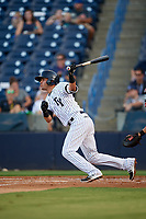 Tampa Yankees shortstop Angel Aguilar (14) follows through on a swing during a game against the Palm Beach Cardinals on July 25, 2017 at George M. Steinbrenner Field in Tampa, Florida.  Tampa defeated Palm beach 7-6.  (Mike Janes/Four Seam Images)