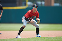 Indianapolis Indians shortstop Kevin Newman (3) on defense against the Columbus Clippers at Huntington Park on June 17, 2018 in Columbus, Ohio. The Indians defeated the Clippers 6-3.  (Brian Westerholt/Four Seam Images)