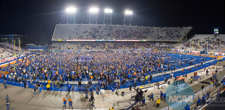2014 DEC 6: The Boise State Broncos take on the Fresno State Bulldogs during the Mountain West Football Championship held at Albertsons Stadium in Boise, ID. Boise State defeated Fresno State 28-14 to claim the championship title. Photo: Ryan McKee/NCAA Photos