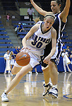 1 March 2008:  Air Force guard, Pamela Findlay (30) drives past BYU's Mindy Nielson (22) during the Falcon's 54-49 Mountain West Conference victory over the BYU Cougars at Clune Arena, U.S. Air Force Academy, Colorado Springs, Colorado.
