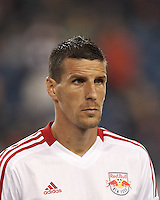 New York Red Bulls forward Sebastien Le Toux (9). Despite a red-card man advantage, in a Major League Soccer (MLS) match, the New England Revolution tied New York Red Bulls, 1-1, at Gillette Stadium on September 22, 2012.