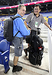 Miami Herald staffer Walt Michot, left, with photographer Preston Mack, right,  during Marlins Park Opening Night game between the Miami Marlins and the Cardinals on Wednesday, April 4, 2012.