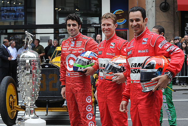WWW.ACEPIXS.COM . . . . . ....May 17 2009, New York City....Dario Franchitti, Ryan Briscoe and Helio Castroneves....Indianapolis 500 racecar drivers  line up outside Macy's in Herald Square in the traditional 11 rows of three on May 18 2009 in New York City.......Please byline: KRISTIN CALLAHAN - ACEPIXS.COM.. . . . . . ..Ace Pictures, Inc:  ..tel: (212) 243 8787 or (646) 769 0430..e-mail: info@acepixs.com..web: http://www.acepixs.com