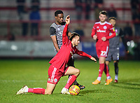 Lincoln City's Jordan Adebayo-Smith vies for possession with Accrington Stanley's Nick Anderton<br /> <br /> Photographer Andrew Vaughan/CameraSport<br /> <br /> The EFL Checkatrade Trophy Second Round - Accrington Stanley v Lincoln City - Crown Ground - Accrington<br />  <br /> World Copyright &copy; 2018 CameraSport. All rights reserved. 43 Linden Ave. Countesthorpe. Leicester. England. LE8 5PG - Tel: +44 (0) 116 277 4147 - admin@camerasport.com - www.camerasport.com