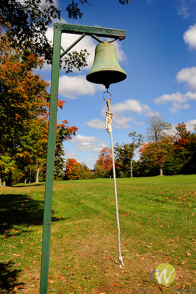 Eagles Mere, PA, golf course in autumn. Fairway bell.
