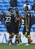 Cameron Jerome of Norwich City celebrates scoring his sides first goal of the match during the Sky Bet Championship match between Cardiff City and Norwich City at Cardiff City Stadium, Wales, UK. Saturday, 04 February 2017