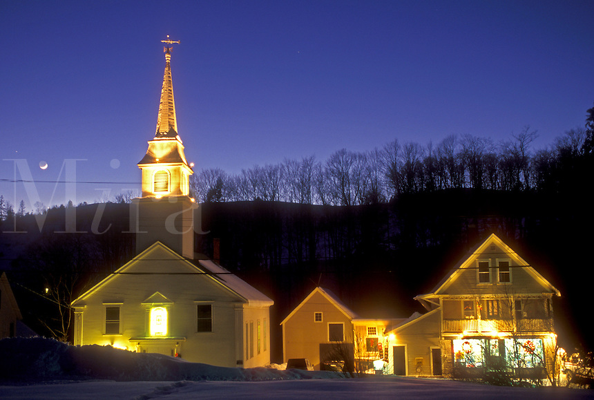 village, winter, East Corinth, Vermont, VT, Scenic village of East Corinth under a full moon in the evening in winter.