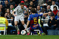 22.02.201a SPAIN -  La Liga 13/14 Matchday 25th  match played between Real Madrid CF vs Elche at Santiago Bernabeu stadium. The picture show Angel di Maria (Argentine midfielder of Real Madrid)