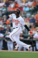 Baltimore Orioles outfielder Adam Jones (10) during a spring training game against the Philadelphia Phillies on March 7, 2014 at Ed Smith Stadium in Sarasota, Florida.  Baltimore defeated Philadelphia 15-4.  (Mike Janes/Four Seam Images)