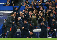 Chelsea Manager, Frank Lampard and his coaching team and substitutes celebrate their third goal during Chelsea vs AFC Ajax, UEFA Champions League Football at Stamford Bridge on 5th November 2019