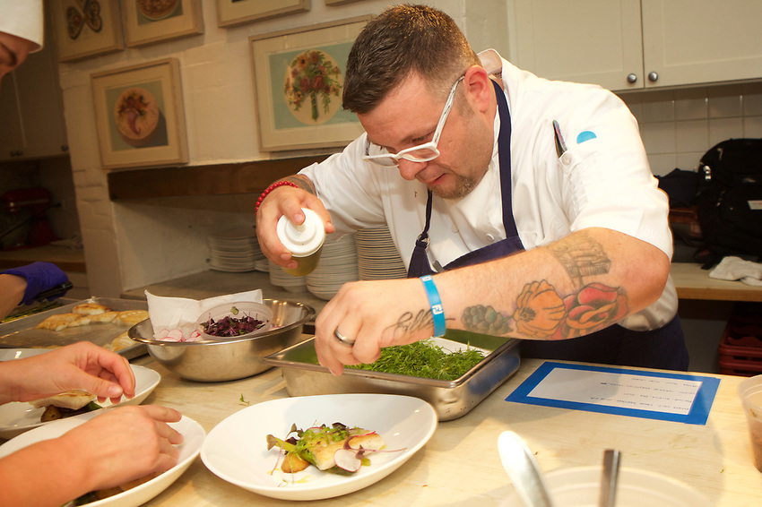 NEW YORK, NY - May 22, 2017: Chef Lee Frank of Otis in Exeter, New Hampshire presents dinner at the James Beard House in Greenwich Village.<br /> <br /> Credit: Clay Williams for The James Beard Foundation.<br /> <br /> &copy; Clay Williams / http://claywilliamsphoto.com