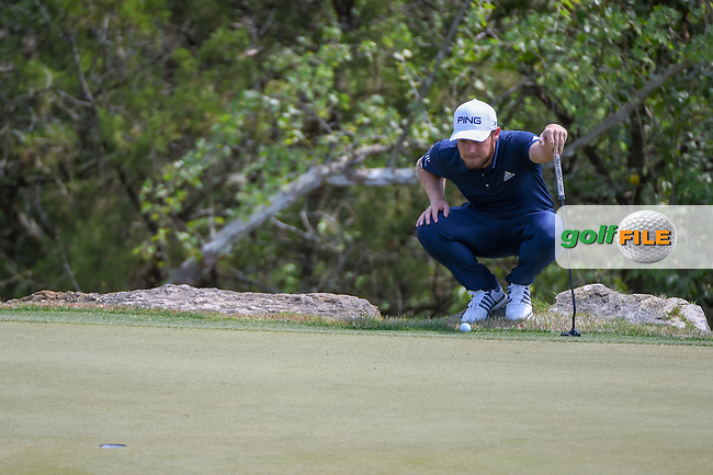 Tyrrell Hatton (ENG) lines up his putt on 2 during day 2 of the WGC Dell Match Play, at the Austin Country Club, Austin, Texas, USA. 3/28/2019.<br /> Picture: Golffile | Ken Murray<br /> <br /> <br /> All photo usage must carry mandatory copyright credit (© Golffile | Ken Murray)
