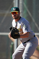 Oakland Athletics Chris Iriart (18) during an instructional league game against the San Francisco Giants on October 12, 2015 at the Giants Baseball Complex in Scottsdale, Arizona.  (Mike Janes/Four Seam Images)