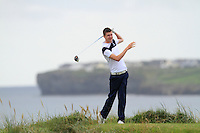 Andrew McGee (Powerscourt) on the 12th tee during the Quarter Finals of The South of Ireland in Lahinch Golf Club on Tuesday 29th July 2014.<br /> Picture:  Thos Caffrey / www.golffile.ie