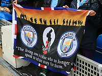 2nd November 2019; Etihad Stadium, Manchester, Lancashire, England; English Premier League Football, Manchester City versus Southampton; Manchester City fans hold up a banner as part of the Remembrance Day commemorations - Strictly Editorial Use Only. No use with unauthorized audio, video, data, fixture lists, club/league logos or 'live' services. Online in-match use limited to 120 images, no video emulation. No use in betting, games or single club/league/player publications
