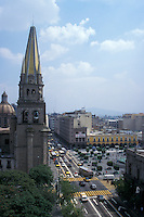 Traffic on Avenida Hidalgo in downtown Guadalajara, Jalisco, Mexico