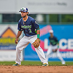 9 July 2015: Vermont Lake Monsters infielder Jesus Lopez in action against the Mahoning Valley Scrappers at Centennial Field in Burlington, Vermont. The Lake Monsters rallied to tie the game 4-4 in the bottom of the 9th, but fell to the Scrappers 8-4 in 12 innings of NY Penn League play. Mandatory Credit: Ed Wolfstein Photo *** RAW Image File Available ****