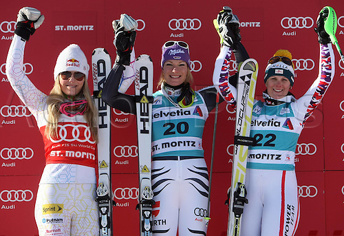 29.01.2012.  Ski Alpine FIS WC St Moritz Super Combination women  Ski Alpine FIS World Cup Super combination for women Award Ceremony Picture shows Lindsey Vonn USA Maria Riesch ger and Nicole Hosp AUT