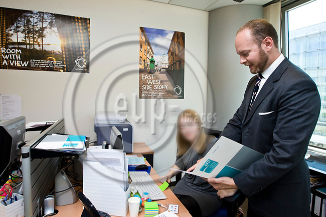 BRUSSELS - BELGIUM - 06 September 2012 -- MEP Sampo TERHO (Fi. EFD) Europe of freedom and democracy Group with Maarit Huhtala, in his office in the EU-Parliament. -- PHOTO: Juha ROININEN /  EUP-IMAGES