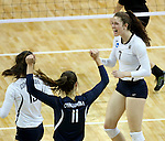 SIOUX FALLS, SD - DECEMBER 9:  Emma Lange #7 from Concordia St. Paul celebrates a point against Lewis during their semifinal match of the Women's Division II Women's Volleyball Championship at the Sanford Pentagon in Sioux Falls, SD. (Photo by Dave Eggen/Inertia)  (Photo by Dave Eggen/Inertia)