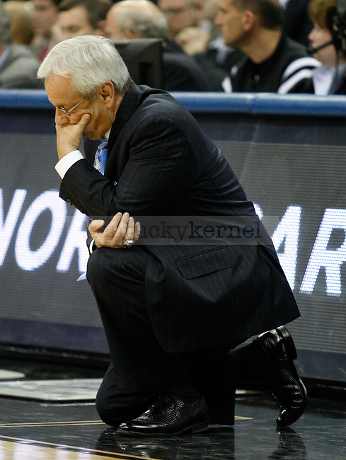 Roy Williams, head basketball coach at the University of North Carolina, in the Elite 8 game against Kentucky in the 2011 NCAA Basketball Tournament, at the Prudential Center, in Newark, NJ.  Photo by Latara Appleby | Staff