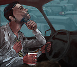 Conceptual illustration of man multi-tasking while driving depicting late at work