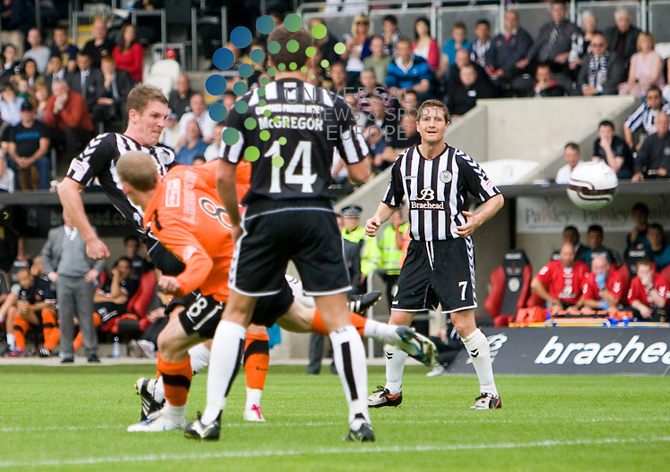 Saints Sean Lynch(20) fires in the goal that takes Saints into the lead during The Clydesdale Bank Premier League match between St Mirren and Dundee United at St Mirren Park 14/08/10..Picture by Ricky Rae/universal News & Sport (Scotland).