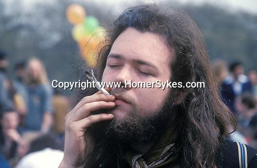 Legalise Pot campaign Hyde Park London 1979 smoking a joint