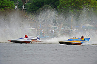 """Leo Croisetiere, E-50 """"Hot To Trot"""" (1986 Karelson 5 Litre class hydroplane) and Larry Lauterbach, F-60 """"Wildcatter"""" (266 class Lauterbach hydroplane)"""