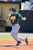 Siena Saints infielder Justin Esquerra (12) during a game against the Central Florida Knights at Jay Bergman Field on February 16, 2014 in Orlando, Florida.  UCF defeated Siena 9-6.  (Copyright Mike Janes Photography)