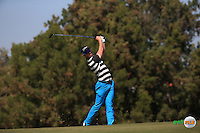 Nathan Holman (AUS) plays second shot down the 3rd during the Final Round of the 2016 Omega Dubai Desert Classic, played on the Emirates Golf Club, Dubai, United Arab Emirates.  07/02/2016. Picture: Golffile | David Lloyd<br /> <br /> All photos usage must carry mandatory copyright credit (&copy; Golffile | David Lloyd)