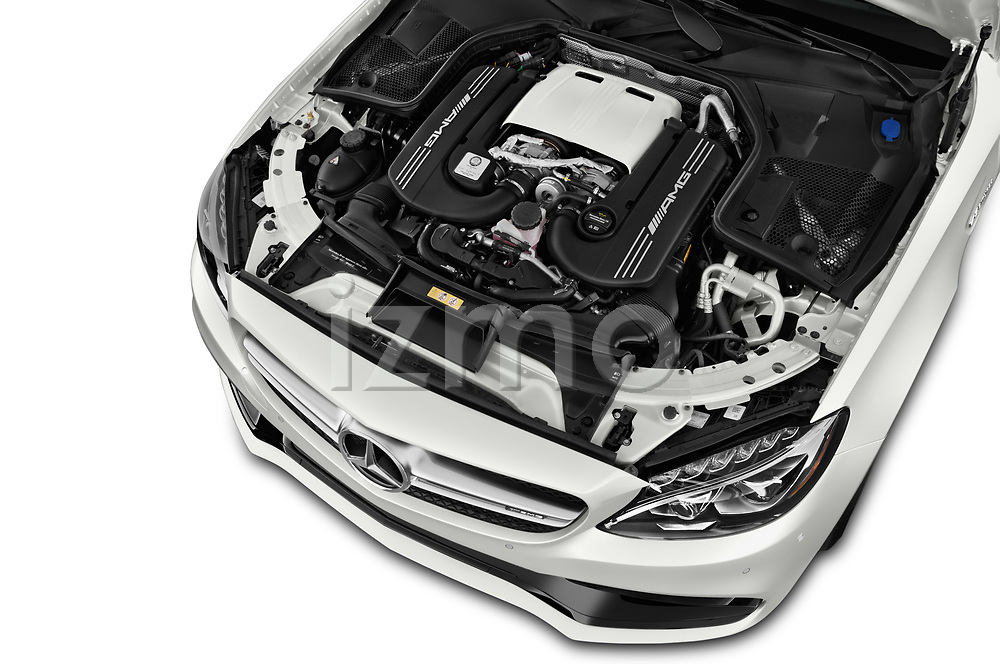 Car stock 2018 Mercedes Benz C-Class Coupe AMG C63 S 2 Door Coupe engine high angle detail view