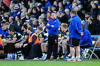Bath Rugby Head Coach Mike Ford looks on from the sidelines. Aviva Premiership match, between Bath Rugby and Sale Sharks on April 23, 2016 at the Recreation Ground in Bath, England. Photo by: Patrick Khachfe / Onside Images