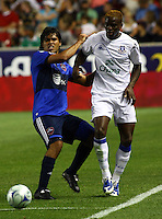 Wilman Conde and Louis Saha in the MLS All Stars v Everton 4-3 Everton win at Rio Tinto Stadium in Sandy, Utah on July 29, 2009