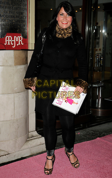 ZOE TYLER .The Gala Performance of 'Legally Blonde' at The Savoy Theatre, London, England. .January 13th, 2010 .full length black brown fur collar trim shoes leggings jacket coat .CAP/CAN.©Can Nguyen/Capital Pictures.