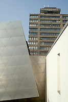"London Metropolitan University Graduate Centre designed by Daniel Libeskind.  Exterior cladding of embossed stainless steel.  The building was awarded an RIBA prize in 2004 and the Royal Fine Art Trust's ""Jeu d'Esprit"" award 2005."