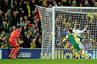 Jonny Howson of Norwich City celebrates scoring the opening goal as Swansea City Goalkeeper Lukasz Fabianski looks on during the Barclays Premier League match between Norwich City and Swansea City played at Carrow Road, Norwich on November 7th 2015