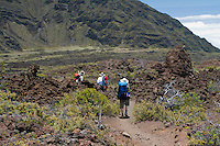 Three male hikers trying to find their way near the Halemau'u switchback trail in HALEAKALA NATIONAL PARK on Maui in Hawaii USA
