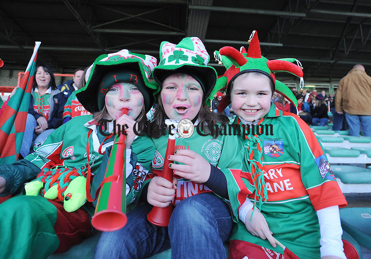 Ciara and Emma Hickey and Leah Talty showing their support during the All Ireland semi-final at the Gaelic Grounds. Photograph by Declan Monaghan